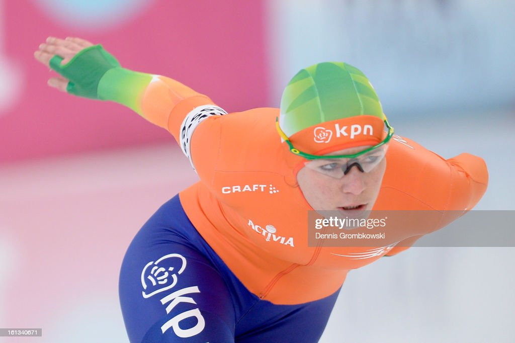 Diane Valkenburg of Netherlands competes in the Women's 3000m Division A race during day two of the ISU Speed Skating World Cup at Max Aicher Arena on February 10, 2013 in Inzell, Germany.