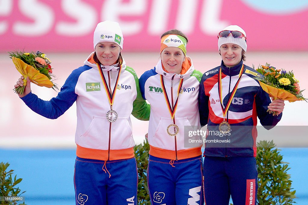 Diane Valkenburg of Netherlands, Ireen Wuest of Netherlands and Martina Sablikova of Czech Republic pose at the podium after the Women's 3000m Division A race during day two of the ISU Speed Skating World Cup at Max Aicher Arena on February 10, 2013 in Inzell, Germany.