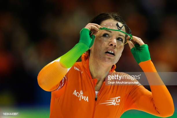 Diane Valkenburg of Netherlands looks at the score board after she competes in the 3000m Ladies race on Day 2 of the Essent ISU World Cup Speed...