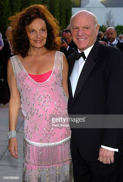 Diane von FUerstenberg and Barry Diller during 2004 Vanity Fair Oscar Party Arrivals at Mortons in Beverly Hills California United States