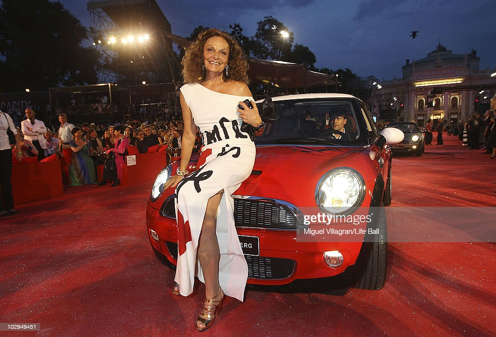 APPLY. Diane von Fuerstenberg poses on a Mini car during the 18th Life Ball at Town Hall on July 17, 2010 in Vienna, Austria. The Life Ball is an annual charity ball raising funds for HIV & AIDS projects.