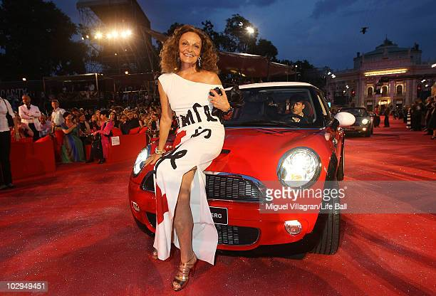 Diane von Fuerstenberg poses on a Mini car during the 18th Life Ball at Town Hall on July 17, 2010 in Vienna, Austria. The Life Ball is an annual...