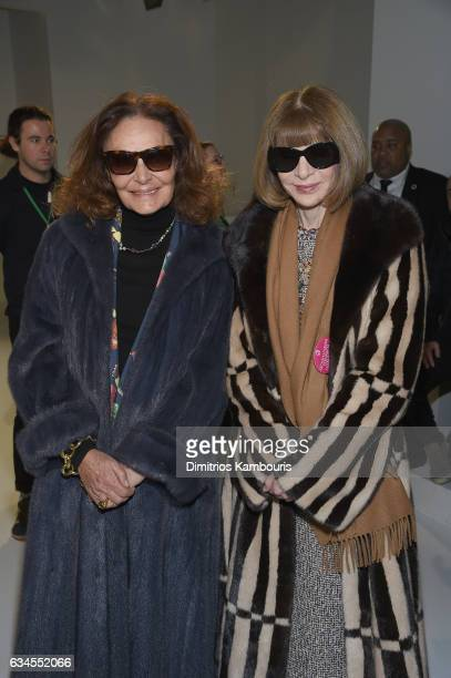 Diane von Furstenberg and Anna Wintour attend the Calvin Klein Collection Front Row during New York Fashion Week on February 10 2017 in New York City...