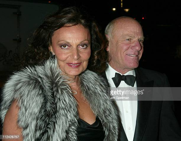 Diane von Furstenberg and Barry Diller during amfAR Benefit Evening Honoring Richard Gere Lorne Michaels and Anna Wintour Arrivals at Cipriani's 42nd...