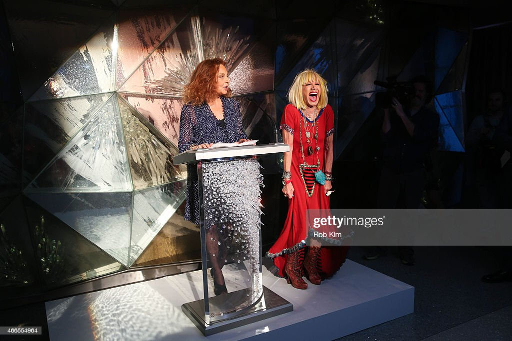 Diane von Furstenberg (L) and Betsey Johnson attend 2015 CFDA Fashion Awards Announcement Party at The Weather Room at the Top of the Rock on March 16, 2015 in New York City.