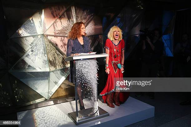 Diane von Furstenberg and Betsey Johnson attend 2015 CFDA Fashion Awards Announcement Party at The Weather Room at the Top of the Rock on March 16...