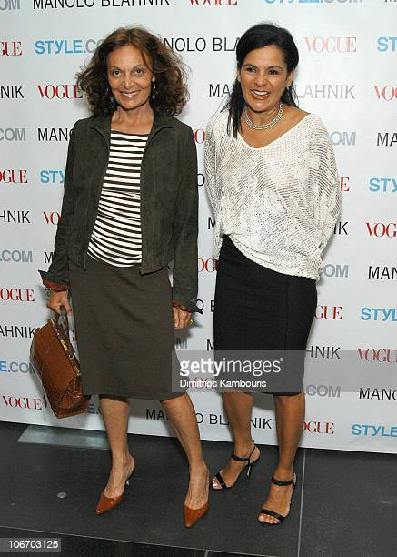 Diane von Furstenberg and Candy Pratts Price during Launch Party For Manolo Blahnik Exhibition Hosted by Anna Wintour and Candy Pratts Price...