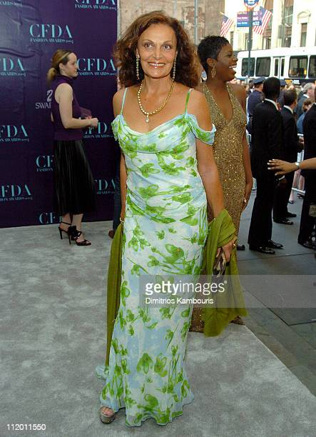 Diane Von Furstenberg and Fantasia Barrino during 2004 CFDA Fashion Awards Arrivals at New York Public Library in New York City New York United States
