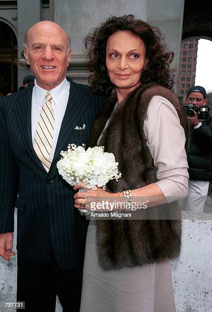Diane Von Furstenberg and her new husband, Barry Diller pose together February 2, 2001 in New York City. The newly married couple were joined at the...