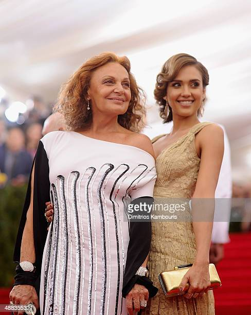 Diane Von Furstenberg and Jessica Alba attend the 'Charles James Beyond Fashion' Costume Institute Gala at the Metropolitan Museum of Art on May 5...