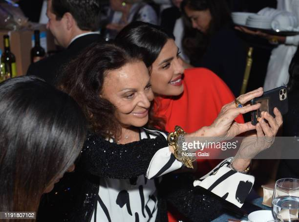 Diane von Furstenberg and Priyanka Chopra Jonas attend the 15th Annual UNICEF Snowflake Ball 2019 at Cipriani Wall Street on December 03 2019 in New...