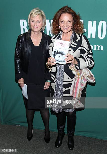 Diane Von Furstenberg and Tina Brown attend the Diane Von Furstenberg In Conversation With Tina Brown Book Event at Barnes Noble Union Square on...