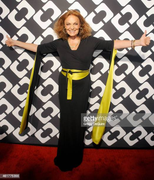 "Diane von Furstenberg arrives at Diane Von Furstenberg's ""Journey Of A Dress"" premiere opening party at Wilshire May Company Building on January 10,..."