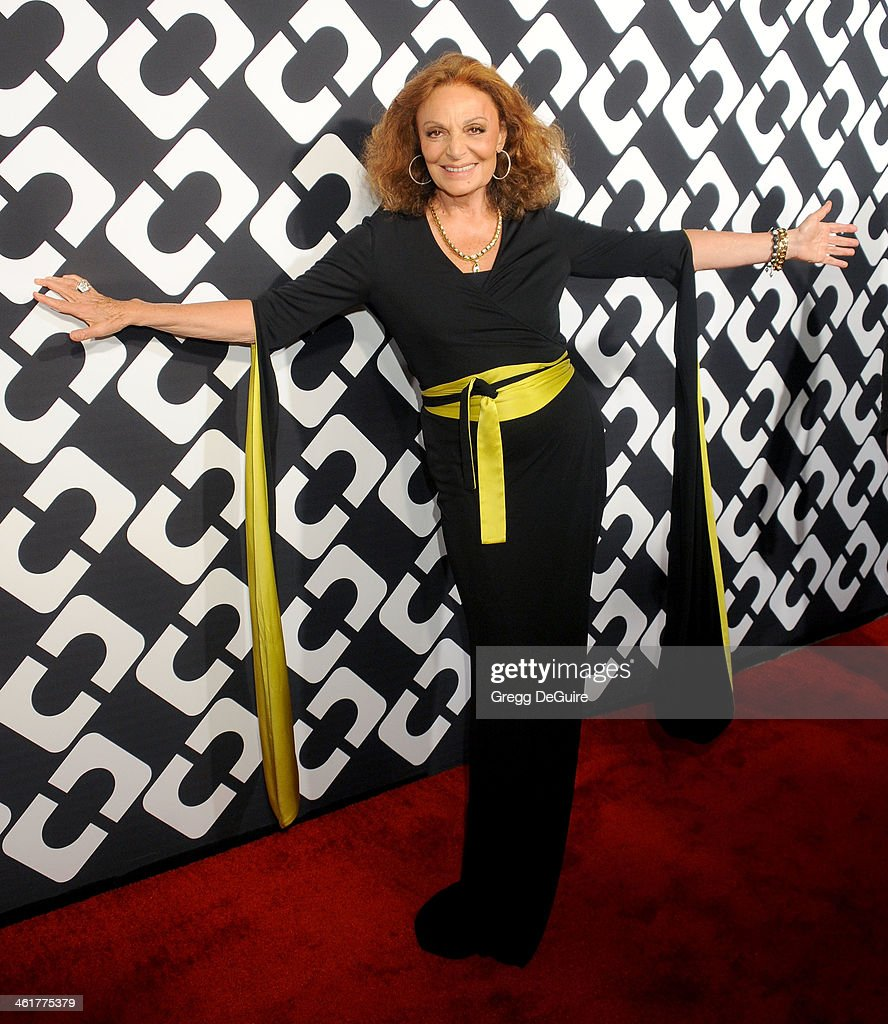 Diane von Furstenberg arrives at Diane Von Furstenberg's 'Journey Of A Dress' premiere opening party at Wilshire May Company Building on January 10, 2014 in Los Angeles, California.