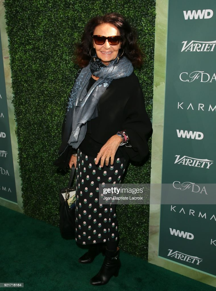 Diane von Furstenberg arrives to the Council of Fashion Designers of America luncheon held at Chateau Marmont on February 20, 2018 in Los Angeles, California.