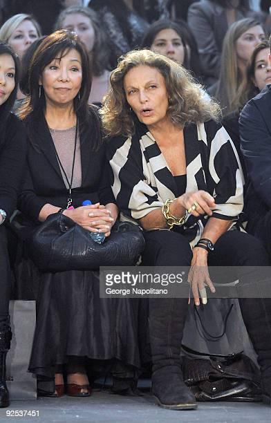 Diane Von Furstenberg attends Alexander Wang Spring 2010 during Mercedes-Benz Fashion Week at Pier 94 on September 12, 2009 in New York City.