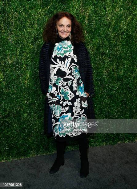 Diane von Furstenberg attends CFDA / Vogue Fashion Fund 15th Anniversary Event at Brooklyn Navy Yard on November 5, 2018 in Brooklyn, New York.