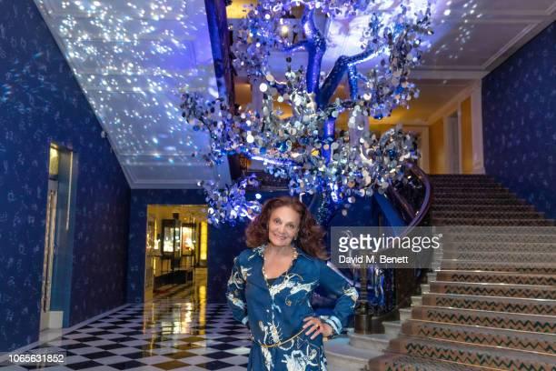 Diane Von Furstenberg attends Claridge's Christmas Tree Unveiling at Claridge's Hotel on November 27 2018 in London England