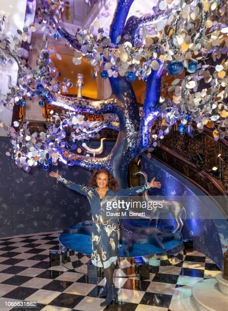 Diane Von Furstenberg attends Claridge's Christmas Tree Unveiling at Claridge's Hotel on November 27, 2018 in London, England.