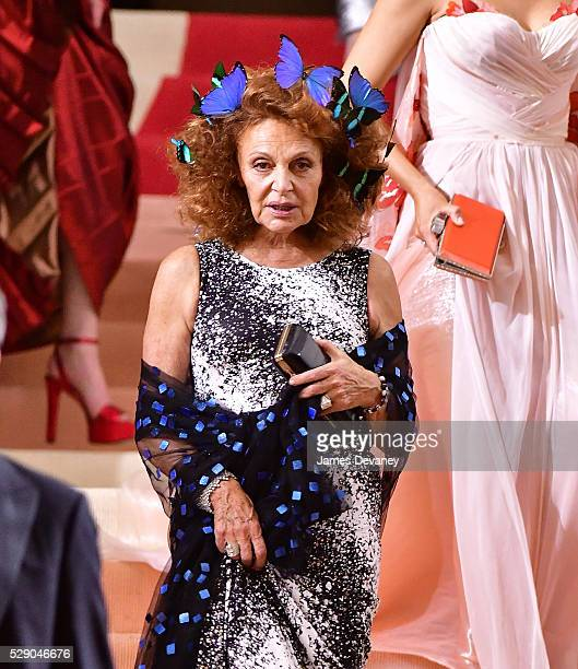 Diane von Furstenberg attends 'Manus x Machina Fashion in an Age of Technology' Costume Institute Gala at Metropolitan Museum of Art on May 2 2016 in...