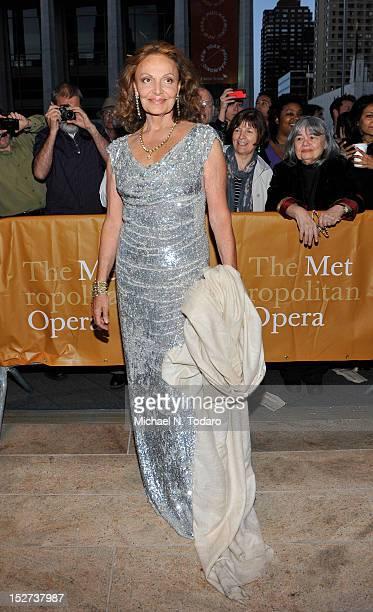 Diane Von Furstenberg attends the 2012 Metropolitan Opera season opening night performance of L'Elisir D'Amore at The Metropolitan Opera House on...