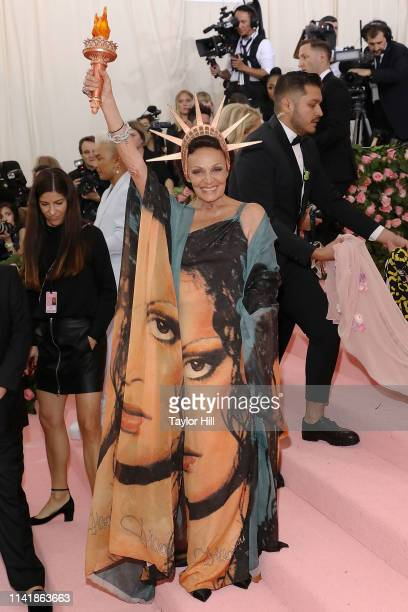 "Diane von Furstenberg attends the 2019 Met Gala celebrating ""Camp: Notes on Fashion"" at The Metropolitan Museum of Art on May 6, 2019 in New York..."