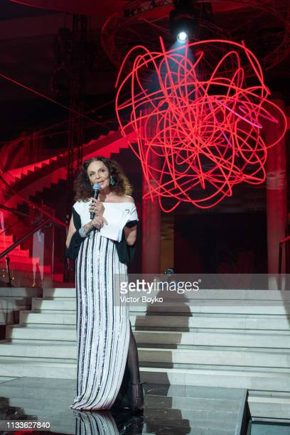 Diane von Furstenberg attends the Love Ball in aid of the Naked Heart Foundation and Al Shafallah at Museum of Islamic Art on March 29 2019 in Doha...