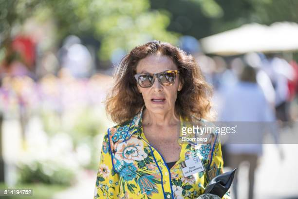 Diane von Furstenberg chairman and founder of Diane von Furstenberg Studio LP walks the grounds after the morning session at the Allen Co Media and...