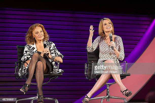 Diane von Furstenberg Founder and CoChairman DVF Studio LLC and Savannah Guthrie CoAnchor Today attend the 5th Annual Women In The World Summit at...