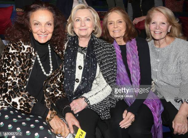 Diane von Furstenberg Hillary Rodham Clinton Gloria Steinem and Producer Daryl Roth attend a performance of 'Gloria A Life' at The Daryl Roth Theater...