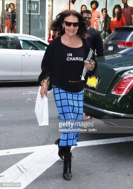 Diane von Furstenberg is seen on April 12, 2018 in New York City.