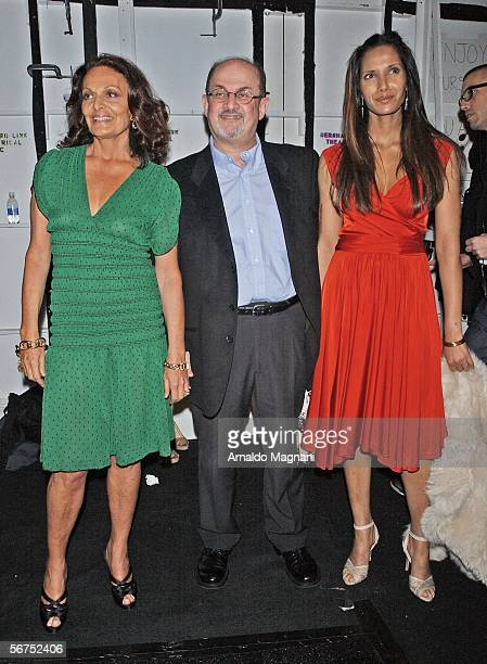 Diane Von Furstenberg Salman Rushdie and Padma Lakshmi at the Von Furstenberg show during the 2006 Olympus Fashion Week at Bryant Park on February 5...