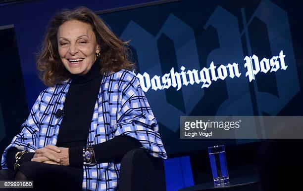 Diane von Furstenberg speaks during In Conversation With Washington Post Fashion Critic Robin Givhan at Washington Post Live Center on December 15,...