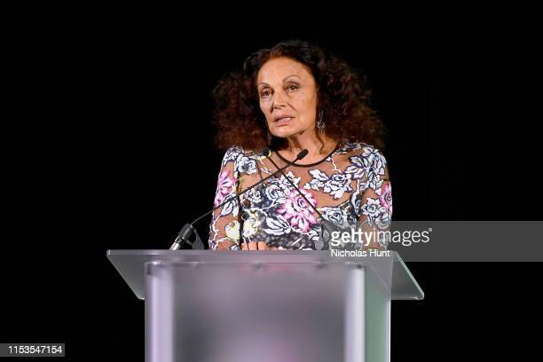 Diane Von Furstenberg speaks onstage during the CFDA Fashion Awards at the Brooklyn Museum of Art on June 03 2019 in New York City