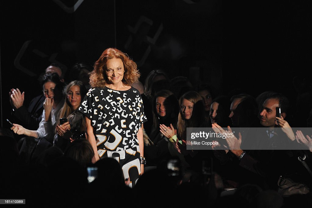 Diane Von Furstenberg walks the runway at the Diane Von Furstenberg Fall 2013 fashion show during Mercedes-Benz Fashion at The Theatre at Lincoln Center on February 10, 2013 in New York City.