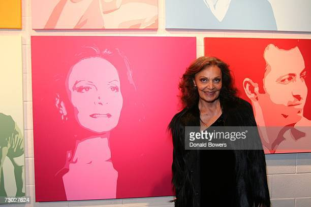 Diane von Furstenburg stands in front of her portrait at the Icons Of The Meatpacking District at Theory January 17 2007 in New York City