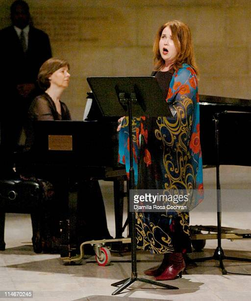 Diane Walsh and Korliss Uecker at Riverside Church during the funeral service for Photographer Gordon Parks on March 14 2006 in New York City