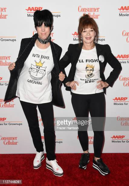 Diane Warren and Frances Fisher attend the 18th Annual AARP The Magazine's Movies For Grownups Awards at the Beverly Wilshire Four Seasons Hotel on...