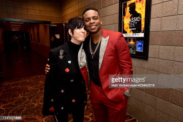 Diane Warren and Jimmie Allen pose backstage during the 54th Academy Of Country Music Awards at MGM Grand Garden Arena on April 07 2019 in Las Vegas...