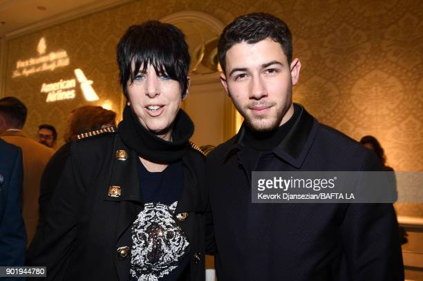 Diane Warren and Nick Jonas attend The BAFTA Los Angeles Tea Party at Four Seasons Hotel Los Angeles at Beverly Hills on January 6 2018 in Los...