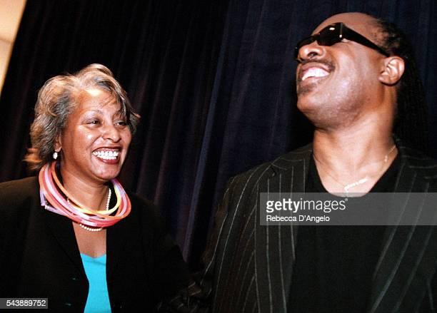 Diane Williams wife of Mayor Anthony Williams and Stevie Wonder at the 'School Night' fundraiser to benefit district schools sponsored by Joe Robert