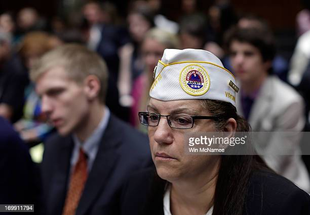 Diane Zumatto National Legislative Director of AMVETS listens as US military leaders including all six members of the Joint Chiefs of Staff testify...