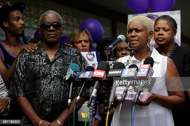 Diann Aldridge the mother of Nykea Aldridge speaks to reporters during a prayer vigil for her daughter as her sister and Jolinda Wade right looks on...
