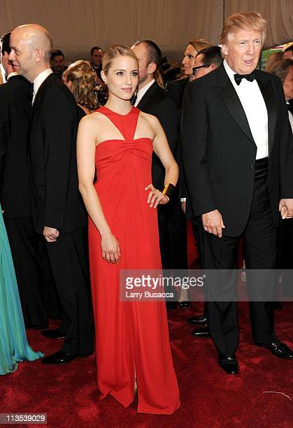 """Dianna Agron and Donald Trump attend the """"Alexander McQueen: Savage Beauty"""" Costume Institute Gala at The Metropolitan Museum of Art on May 2, 2011..."""
