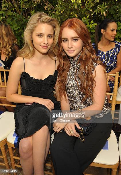 LOS ANGELES CA OCTOBER 30 Dianna Agron and Lily Collins attend the CFDA/Vogue Fashion Fund Event at Chateau Marmont on October 30 2009 in West...