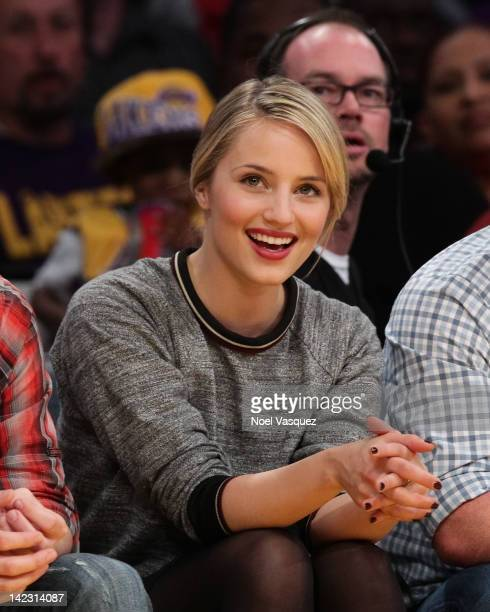 Dianna Agron attends a basketball game between the Golden State Warriors and the Los Angeles Lakers at Staples Center on April 1 2012 in Los Angeles...