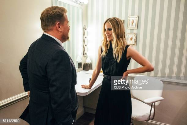Dianna Agron chats in the green room with James Corden during 'The Late Late Show with James Corden' Thursday November 2 2017 On The CBS Television...