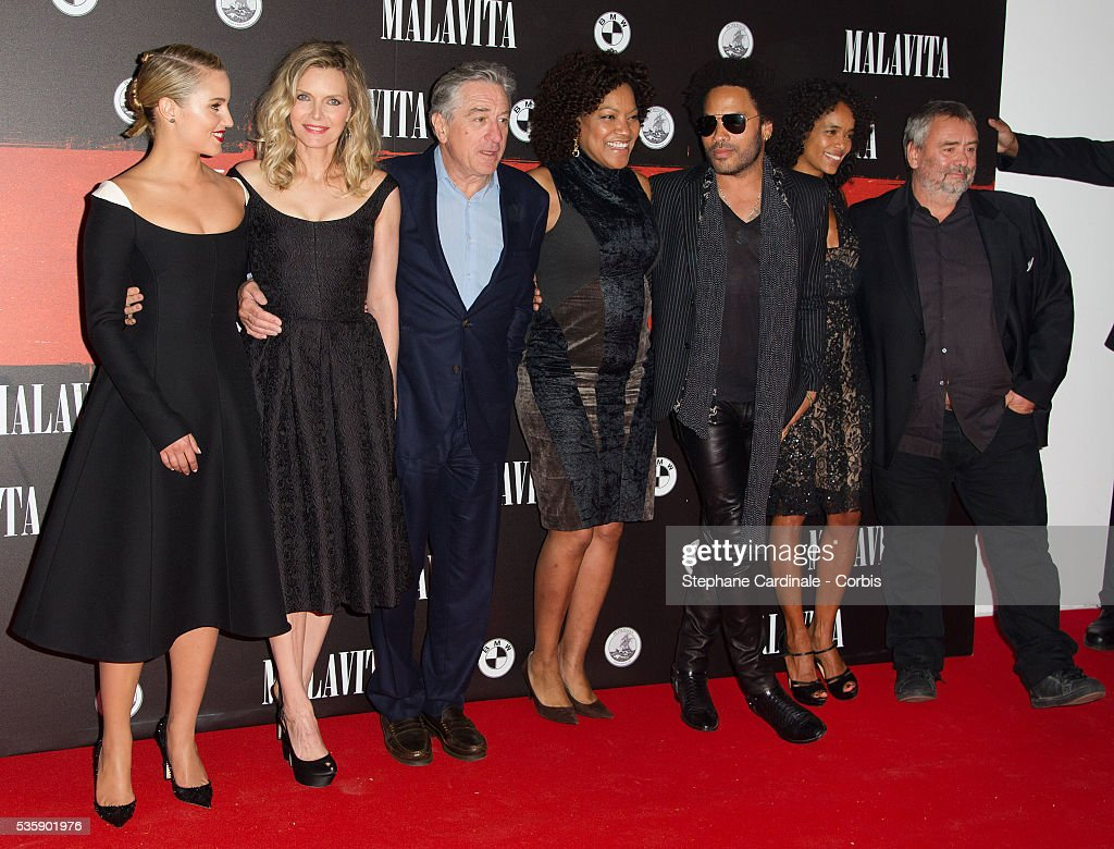 Dianna Agron, Michelle Pfeiffer,Robert de Niro, Grace Hightower, singer Lenny Kravitz, Virginie Silla and director Luc Besson attend the 'Malavita' premiere at Europacorp Cinemas at Aeroville Shopping Center, in Roissy-en-France, France.