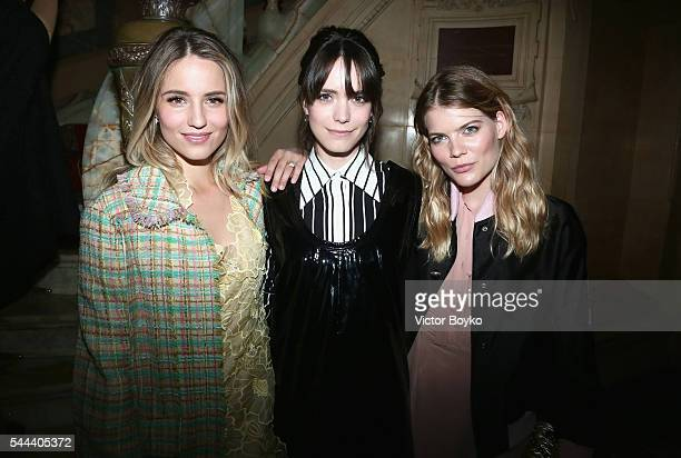 Dianna Agron Stacy Martin and Emma Greenwell attend The Miu Miu Club And Croisiere 2017 Collection Presentation at Hotel De La Paiva on July 3 2016...