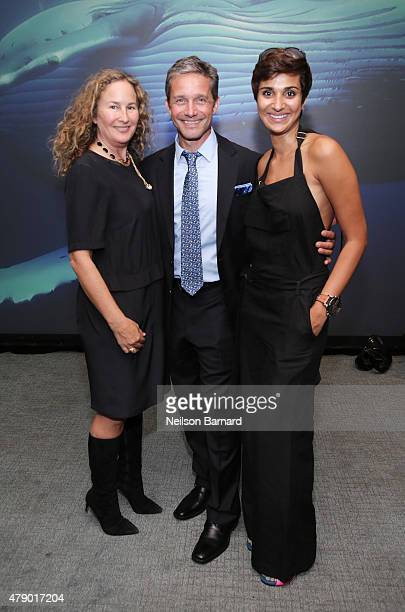 Dianna Cohen Fabien Cousteau and Asher Jay attend the United Nations x Parley For The Oceans Launch Event at the United Nations General Assembly Hall...